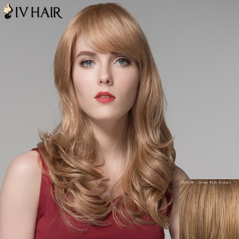 Charming Fluffy Wavy Capless Long Side Bang Women's Real Natural Hair Wig - BROWN/BLONDE