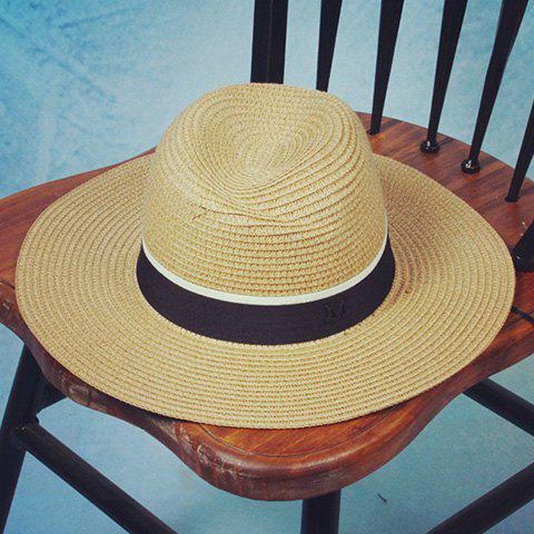 Chic Black and White Band Embellished Solid Color Women's Straw Hat - LIGHT YELLOW