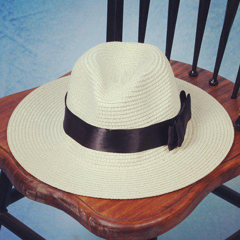 Chic Black Double-Deck Bow Ribbon Embellished Women's Straw Hat - OFF WHITE