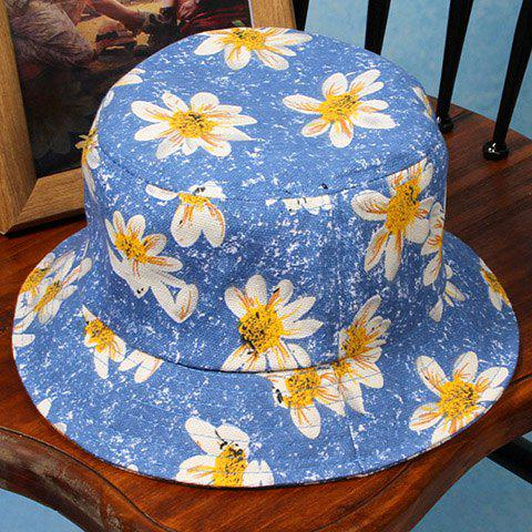 Chic Flowers Pattern Flat Top Bucket Hat For Women