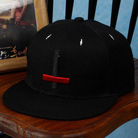 Stylish Black and Red Cross Shape Embroidery Decorated Men's Baseball Cap - BLACK