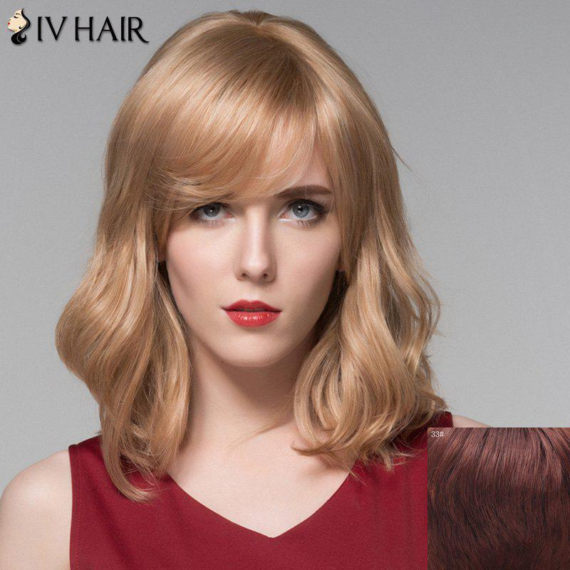 Elegant Medium Side Bang Fluffy Wavy Capless Human Hair Wig - DARK AUBURN BROWN