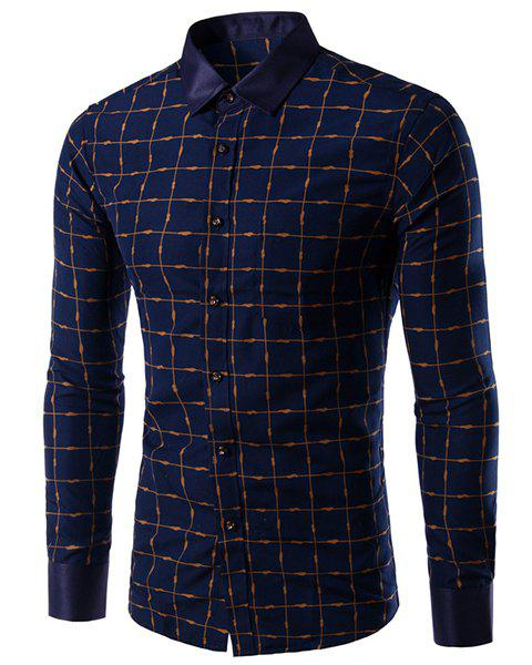 Long Sleeves Single Breasted Plaid Shirt For Men