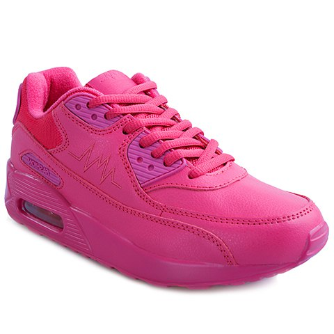 Simple PU Leather and Lace-Up Design Sneakers For Women - ROSE 35