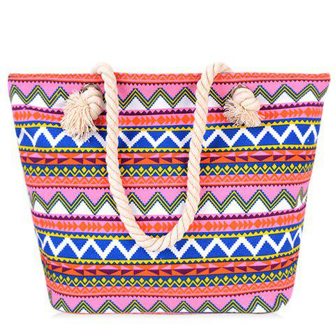 Geometric Pattern and Canvas Design Beach Shoulder Bag - RED