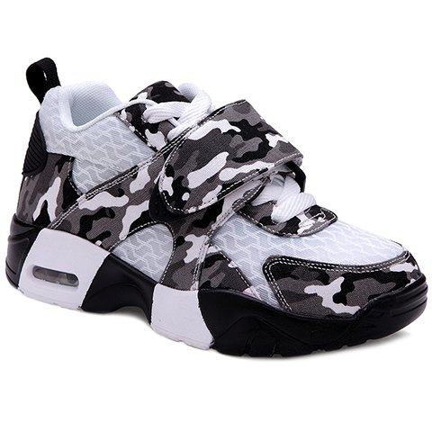 Trendy Camouflage and Lace-Up Design Sneakers For Women