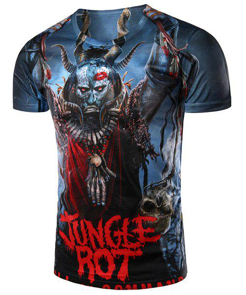Round Neck 3D Bull Demon King Printed Short Sleeve Men's T-Shirt - COLORMIX L