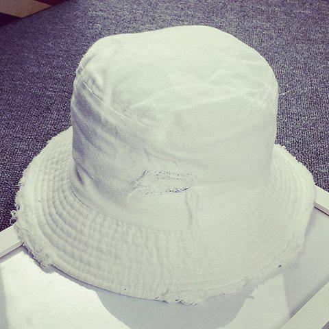 Chic Broken Hole and Raw Edge Embellished Bucket Hat For Women