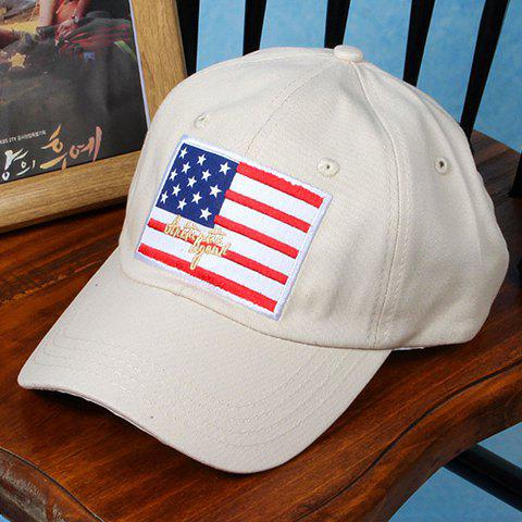 Stylish American Flag and Letters Embroidery Baseball Cap For Men -  OFF WHITE