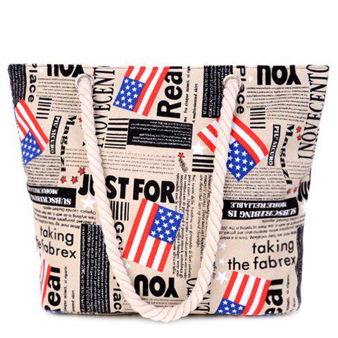 Stylish American Flag and Canvas Design Women's Shoulder Bag - LIGHT KHAKI