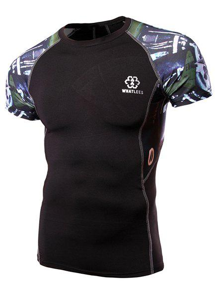 Round Neck Abstract Print Splicing Design Short Sleeve Fitted Men's T-Shirt - COLORMIX L