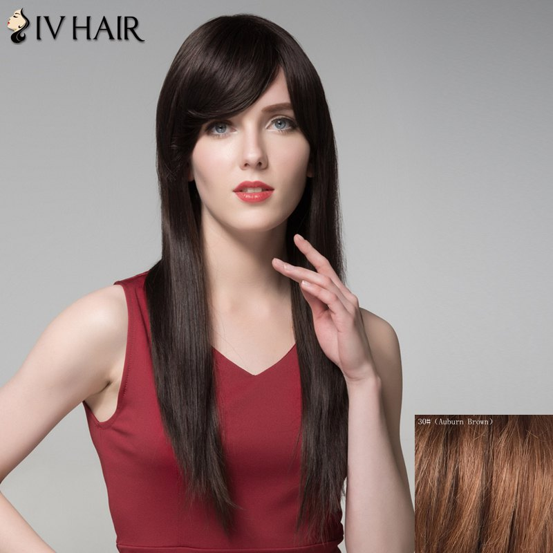 Charming Natural Straight Capless Vogue Long Side Bang Women's Human Hair Wig - AUBURN BROWN
