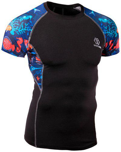 Quick-Dry Sea World Print Round Neck Short Sleeves Men's Skinny T-Shirt - BLACK M