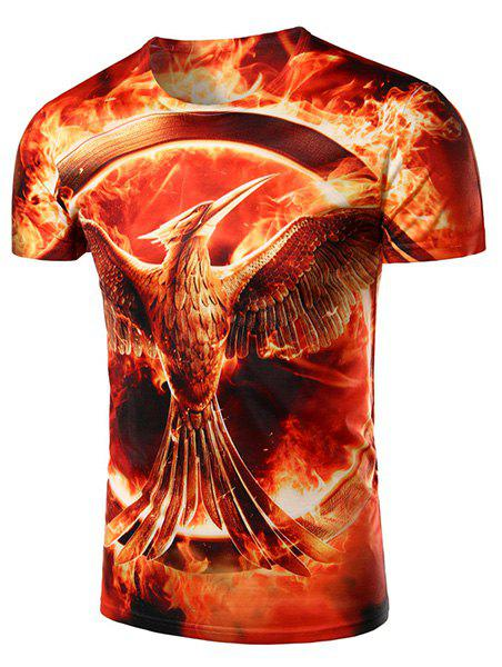 Round Neck 3D Mockingjay Printed Short Sleeve Men's T-Shirt - RED L