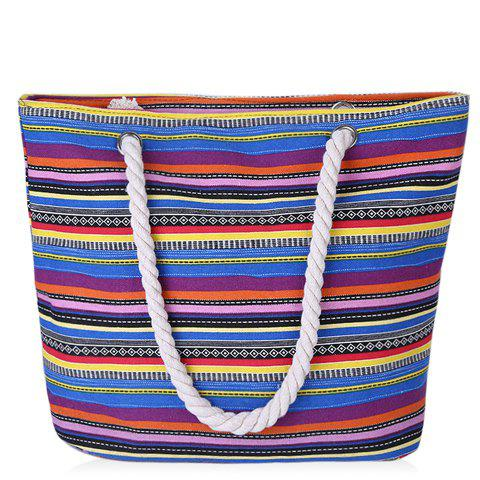 Trendy Striped and Canvas Design Women's Shoulder Bag - BLUE/YELLOW