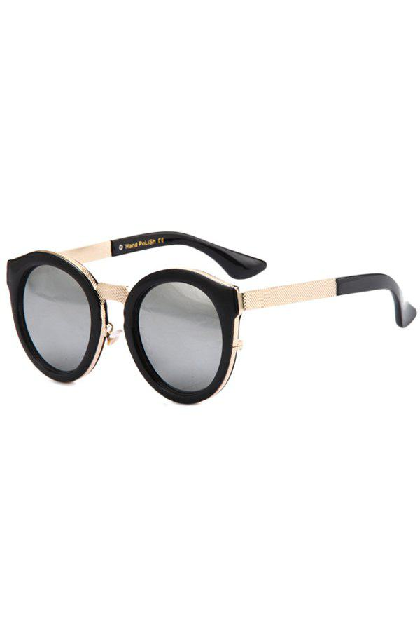Fashion Black Frame Metal Splicing Sunglasses For Women - SILVER