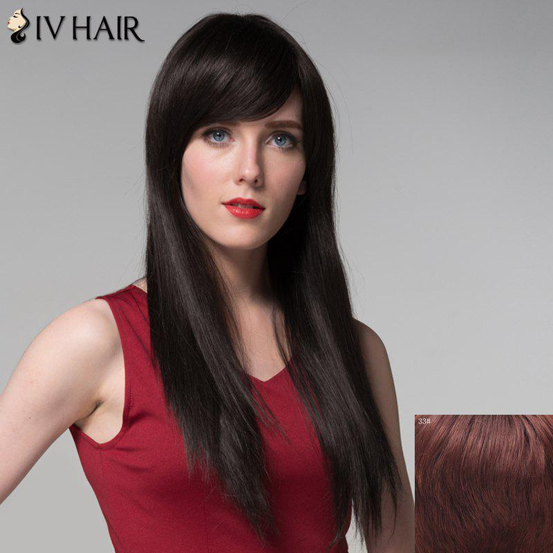 Fashion Silky Straight Side Bang Graceful Long Capless Real Human Hair Wig For Women - DARK AUBURN BROWN