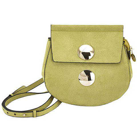Fashionable Metal and Suede Design Crossbody Bag For Women - PEA GREEN