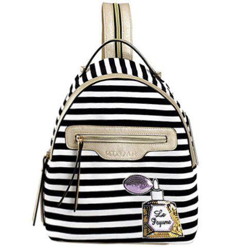 Casual Cotton Fabric and Striped Design Backpack For Women - WHITE/BLACK