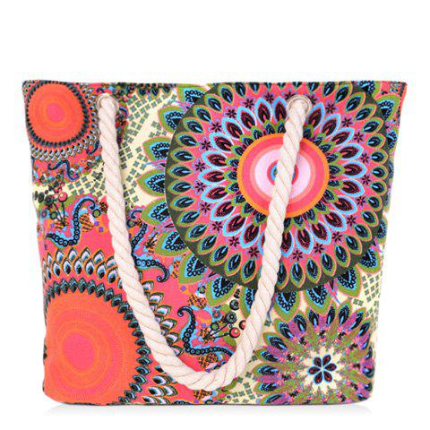 Simple Multicolor and Floral Print Design Women's Shoulder Bag - COLORMIX