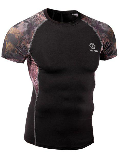 Quick-Dry Skinny 3D Printed Round Neck Short Sleeves Men's Cycling T-Shirt