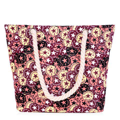 Concise Canvas and Five-Pointed Star Design Women's Shoulder Bag - COLORMIX