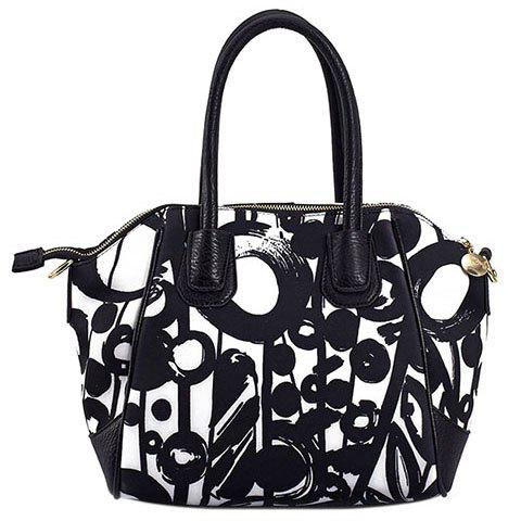 Simple PU Leather and Printed Design Tote Bag For Women - WHITE/BLACK