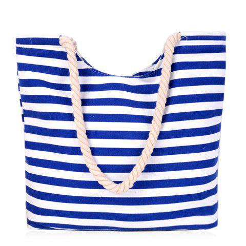 Concise Colour Block and Striped Design Shoulder Bag For Women