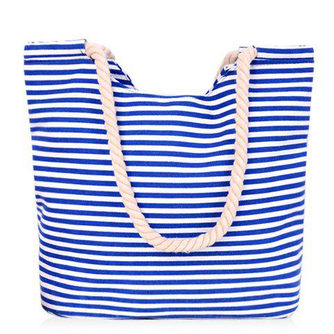 Simple Striped and Canvas Design Women's Shoulder Bag - BLUE/WHITE