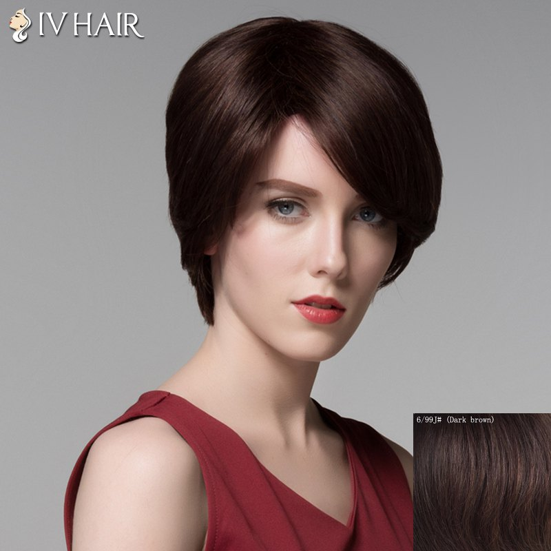 Vogue Short Capless Noble Straight Side Bang Real Natural Hair Wig For Women - DARK BROWN