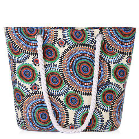 Concise Multicolor and Circle Pattern Design Women's Shoulder Bag - CYAN