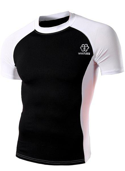 Summer Round Neck Color Spliced Short Sleeves Men's Sweat Dry Tight T-Shirt - WHITE M