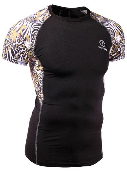 Quick-Dry Skinny Leopard Print Round Neck Short Sleeves Men's Cycling T-Shirt - BLACK M