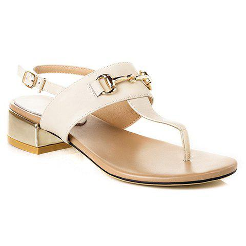 Trendy Flip Flops and Chunky Heel Design Sandals For Women - OFF WHITE 35