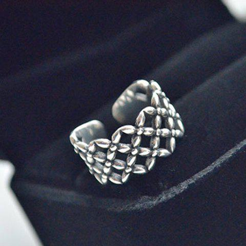 Floral Hollow Out Cuff Ring - SILVER ONE-SIZE