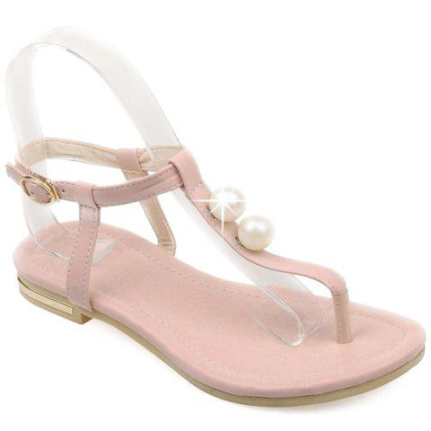 Leisure Flip Flop and Faux Pearls Design Sandals For Women - PINK 37