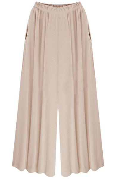 Stylish High Waist Pure Color Wide Leg Pants For Women - APRICOT M