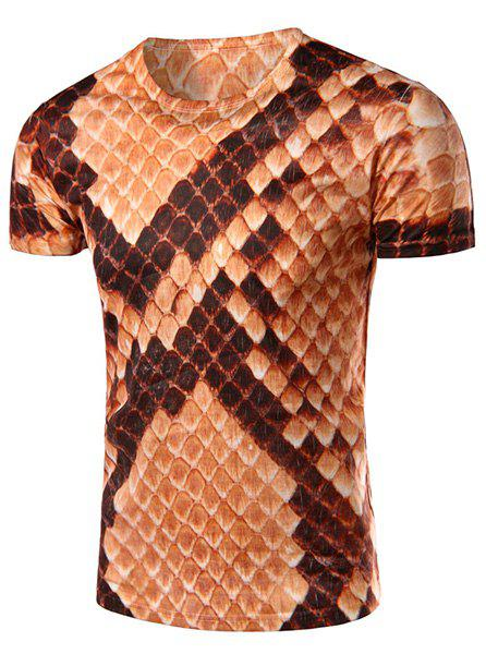 Round Neck 3D Snakeskin Printed Short Sleeve Men's T-Shirt - COLORMIX L