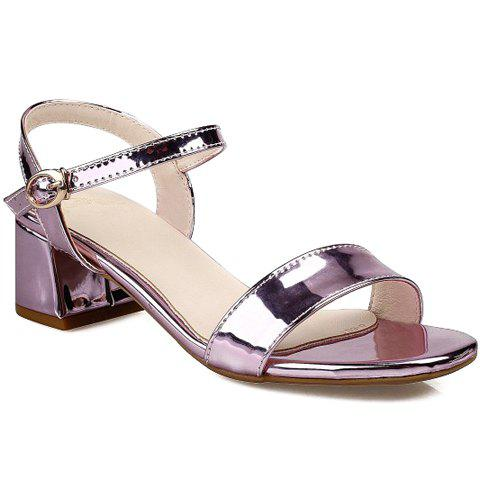 Stylish Solid Colour and Chunky Heel Design Women's Sandals - PINK 39