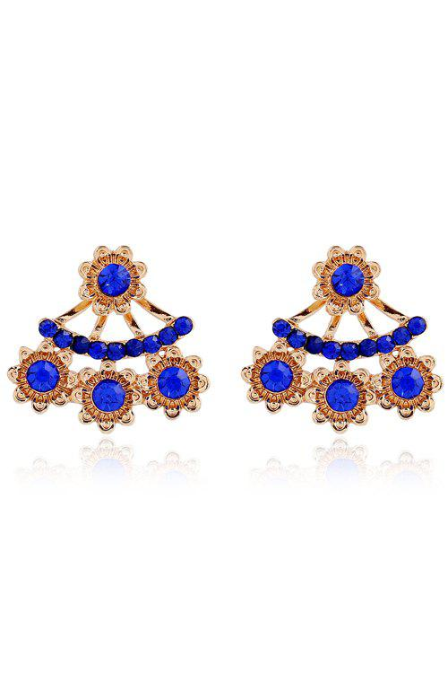 Charming Rhinestoned Floral Earrings For Women - BLUE