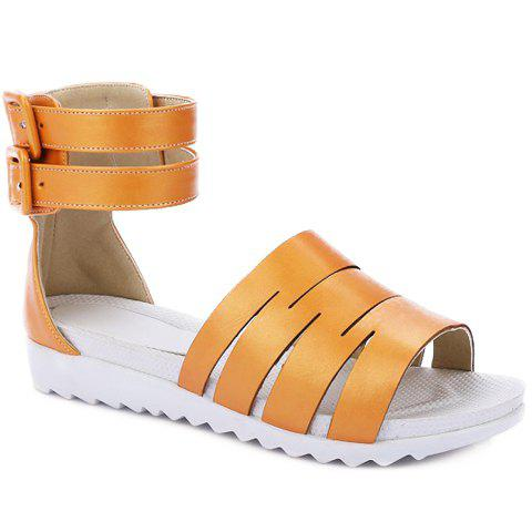 Leisure Double Buckle and Solid Colour Design Women's Sandals