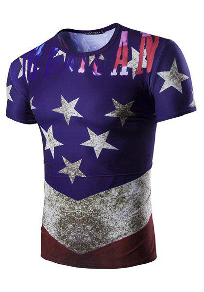 Round Neck 3D Stars Printed Short Sleeve Men's T-Shirt - COLORMIX M