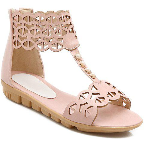 Stylish Beading and Hollow Out Design Women's Sandals - 34 PINK