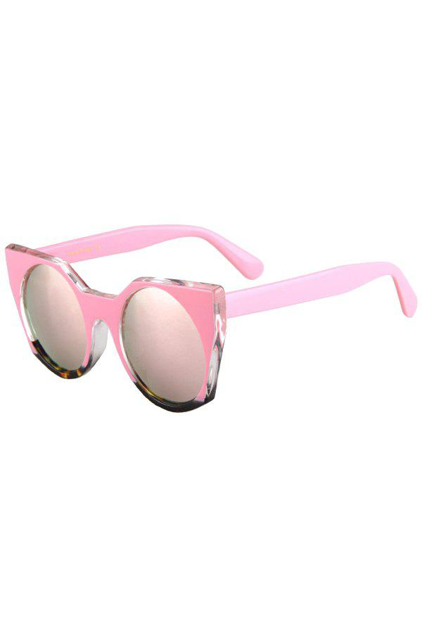 Fashion Round Lenses Color Block Cat Eye Sunglasses For Women - PINK