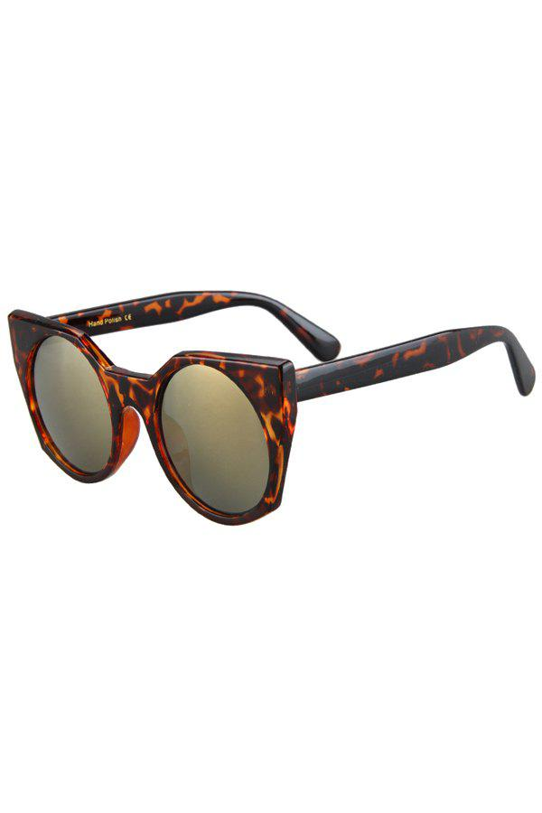 Fashion Round Lenses Leopard Pattern Cat Eye Sunglasses For Women - BROWN