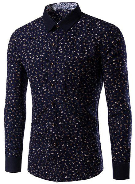 Slimming Long Sleeves Floral Printing Single Breasted Shirt For Men - COLORMIX L
