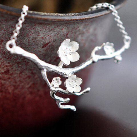 Plum Flower Branch Shape Necklace - SILVER