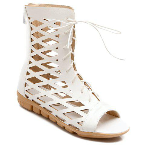 Trendy Hollow Out and Lace-Up Design Women's Sandals - WHITE 36