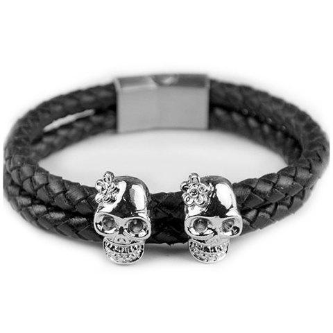 Chic Faux Leather Skull Decorated Bracelet For Men