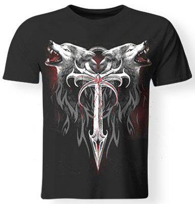 3D Wolf and Sword Print Round Neck Short Sleeves Men's Cool T-Shirt - BLACK L